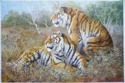 Hechos a mano realista Pintura al Óleo de tigre para la decoración del hogar