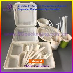 Eco-Friendly Custom 2 Habitáculo descartáveis de bagaço Bento Lancheira clamshell