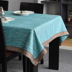 Fios macios tingidos de azul Costura Pano Quadrado toalhas de mesa redonda Custom