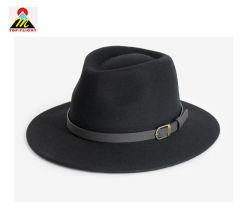 Dama de lana personalizados cuchara de Fedora sombrero con correa de cuero