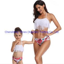 Bikinis mujeres Imprimir hoja de borlas en traje de baño Trajes de Baño dos piezas de desgaste de la playa de verano Traje de baño.