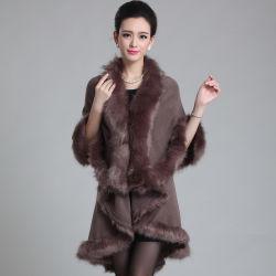 Mulheres com acrílico Moda Faux guarnição de peles Inverno Cape (YKY4718)