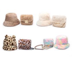 I sacchetti dei cappelli di pelliccia delle borse della pelliccia delle donne hanno impostato il sacchetto stabilito del cappello e della maniglia della benna del cappello della borsa dei sacchetti di spalla della chiusura lampo
