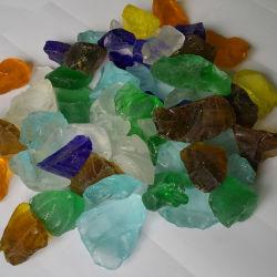 De gekleurde Grote Stenen van het Glas in Gabion