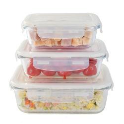 Almacenamiento de contenedores de vidrio Retangular Alimentos juegos
