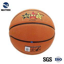 Taille officielle stratifiés caoutchouc résistant PU/cuir intérieur/extérieur en PVC le basket-ball en couleur orange