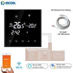 Schwarz-Angebot-Touch Screen WiFi Raum-Thermostat für elektrische Fußboden-Heizungs-Arbeit mit Amazonas Alexa und Google Haus