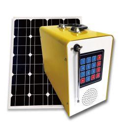 Pay As You Go Solar Kit 4 Potentes luces LED linterna recargable Radio TV Teléfono móvil de carga Túnez Maroc