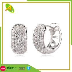 La moitié de l'anneau en forme de C Earrings Women's Simple Earring cuivre Zircon Micro set Earrings Round Earrings accessoires haut de gamme pour les femmes de gros (01)