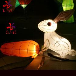 La luna y el conejo Animal Chino tradicional Festival de faroles de alumbrado exterior de vacaciones de Navidad