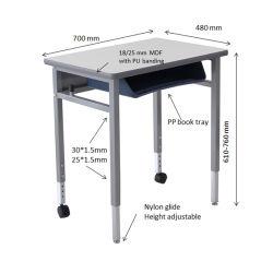 新式の大学アメリカの学校プラスチックブックトレーが付いている国際的な学生の机