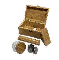 Hechos a mano 100% de bambú, con bisagras, Stash Premium Caja de madera, la maleza con accesorios pequeño Grinder de metal, la bandeja de laminación de madera medianas y grandes Frasco de vidrio