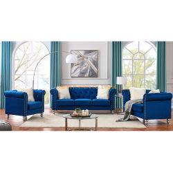 Bajo precio Sofá moderno salón Tufted Botón tela azul Classic sofá Chesterfield