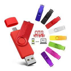 شعار مخصص مدور على محرك فلاش OTG سعة 64 جيجابايت وسعة 32 جيجابايت وسعة 8 جيجابايت ذاكرة محرك أقراص USB Flash للكمبيوتر الدفتري اللوحي بنظام Android Phone