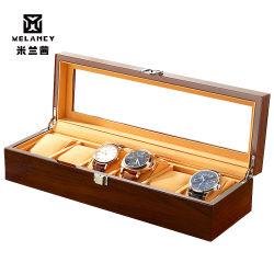 رفاهيّة خشبيّة [وتش بوإكس] ساعة حامل صندوق لأنّ ساعة رجال زجاجيّة علبيّة مجوهرات منظمة صندوق 6 شبك ساعة منظمة جديدة