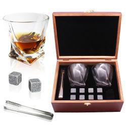 خشبيّة صندوق مجموعة وسكي برم مجموعة مع 2 زجاج 8 صوان حجارة سفر رجال يثبت