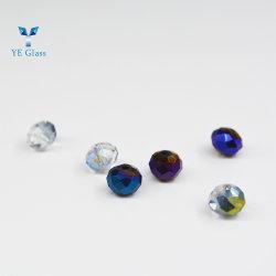 Custom colorida decoración Adorno Colgante de Cristal Joyas de perlas de vidrio plano de Vidrio Facetado cordones redondos