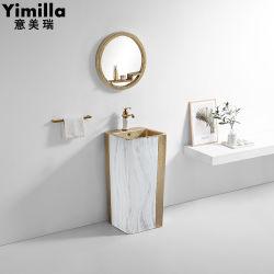 Heiße Entwurfs-Badezimmer-Eitelkeits-keramisches Bassin-Wäsche-Bassin-Gold