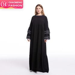 겸손한 패션 최신 벨 슬리브 디자인 캐주얼 맥시 드레스 블랙 여성용 드레스