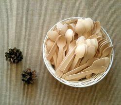 環境に優しく使い捨て可能なデザートのアイスクリームの木のスプーン110mm