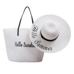 Été Ladies Disquette de gros sac de plage femme sac fourre-tout le papier noir personnalisé de l'épaule Sac de paille avec grand chapeau de paille