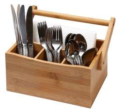 Titulaire de coutellerie coutellerie Caddy de l'Argenterie Caddy détenteur de la vaisselle de table avec poignée de rotation fait de Bambou biologique