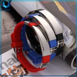 Logotipo personalizado Código QR personalizados pulseras de silicona con placa de metal, la moda Wrristband de silicona con el logotipo grabado láser