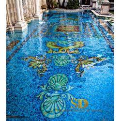 호화스러운 왕 작풍 예술 수영장 장식을%s 유리제 모자이크 패턴 수영풀 모자이크 디자인