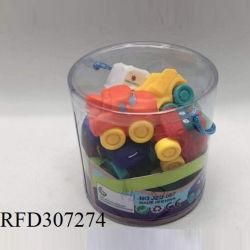 Bebé de goma suave pack de 12 coches de juguete en cuchara - Animales de dibujos animados de inserción de los vehículos e ir con ruedas para bebés, niños y bebés