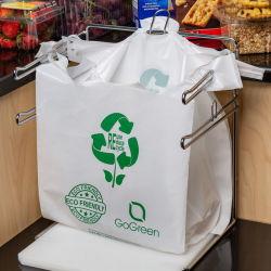 Rollo de Biodegradable planos impresos portador de la Producción de comestibles de la basura de plástico camiseta con impresión del logotipo de la bolsa de embalaje