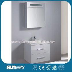 [هيغقوليتي] لمعان بيضاء وعلّب جدار سوداء غرفة حمّام [فورنتيور] مع مرآة خزانة