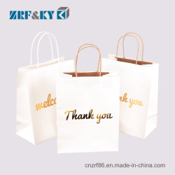 Commerce de gros Noir/Blanc/marron du papier kraft de vêtements de sacs de magasinage/Food/emballage avec poignées torsadées