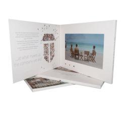 Fördernde Einladung LCD-videobroschüre-Papier-Visitenkarte 7 Zoll-Bildschirm-videogruß-Karte