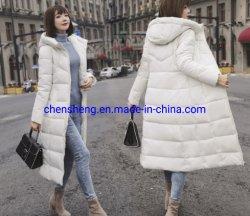 Commerce de gros Stock lady de l'hiver long coton Fake Down Jacket avec Hoodie pour les femmes d'usure à chaud