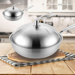 304 roestvrij staal 3034cm Duurzame Non-Stick Wok