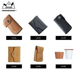 Saad 제조 진짜 가죽 동전 지갑 열쇠 고리를 가진 소형 주머니 변경 지갑