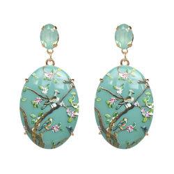 Commerce de gros 2018 Haut de la conception mode féminine Accessoires Bijoux de cuivre acrylique Alooy Round Earrings