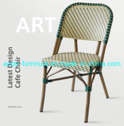 Aluminio exterior moderno restaurante de moda el color de tejido de mimbre PE Bistro de comedor muebles de ratán
