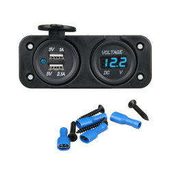 شاحن USB مزدوج للسيارة Voltmeter للسيارة بجهد 24 فولت وقدرة 2 أمبير للشاحنة بجهد 12 فولت شاحن تلقائي للمنفذ مع لوحة مقبس محول الطاقة لمقياس الجهد الكهربائي