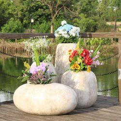 H069 Plantadeiras de fibra de plantadeira brancos exterior vasos para plantas em vaso decorativos de plantadeiras com Jardim