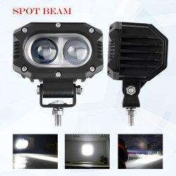 جهاز عرض Aux Light 6D من Motorcycle بقدرة 30 واط مع حجم صغير من الفولاذ المقاوم للصدأ مصباح LED لضوء شعاع الضوء العالي لضوء Spot Beam 3750 بطول 9-30 فولت و6000 كيلو متر IP67 مصباح عمل القيادة الكهرماني