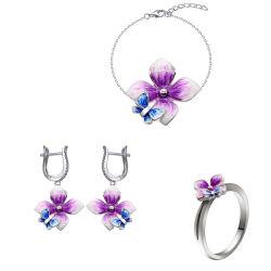 925 de echte Zilveren Juwelen van de Ring van de Armband van de Oorring van het Email van de Bloem en van de Vlinder