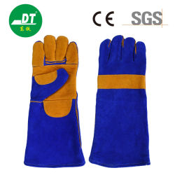 قفازات من الطبقة المزدوجة الزرقاء من نوع AB Sapphire مقاس 16 بوصة مع النخيل قفازات واقية من الحرارة من خمسة أصابع مكسوة بالجلد المقوى