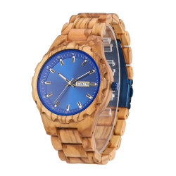 Leuchtender Typ blauer Vorwahlknopf-gesunde hölzerne Armbanduhr der Männer Hand