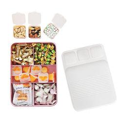 뚜껑을%s 가진 창조적인 플라스틱 다중 부분적인 사탕 콘테이너 식사 서빙 쟁반