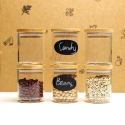 Luxury 150ml vazio frascos de armazenamento de vidro borossilicato empilháveis& Jarros com tampa de bambu conjunto canister