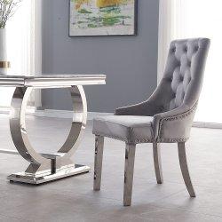 El Hotel Silla de Comedor de estilo europeo moderno de acero inoxidable de terciopelo de la pierna Silla de Comedor