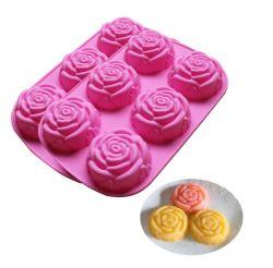 6 moule à cake en silicone de la cavité de Rose Savon Rose moule décoratif
