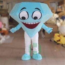 Ciao fumetto blu personalizzato del costume della mascotte del diamante per il formato adulto
