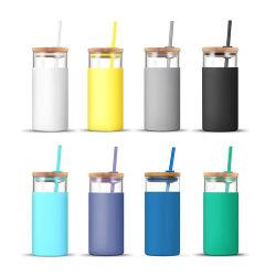 chiavetta bevente della bottiglia del coperchio 500ml del silicone dell'acqua di vetro di bambù su ordinazione del manicotto con paglia